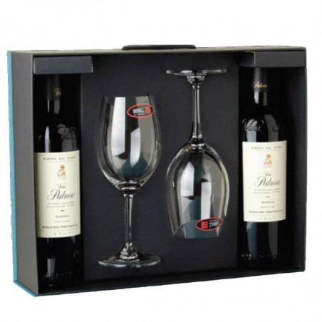 2 Viña Pedrosa Reserva in a case with 2 glasses