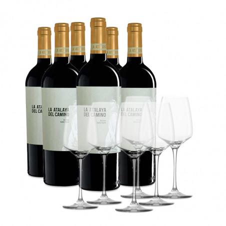 Etui 6 Flaschende La Atalaya del Camino + 6 Gläsern