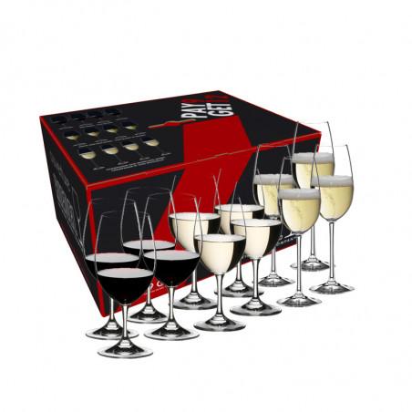 Kiste mit Riedelgläsern Ouverture White Wine, Magnum und Champagne Glass (6+3 Gläser)