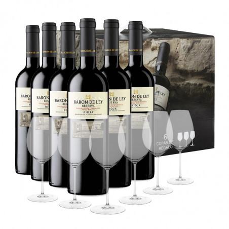 Etui 6 Flaschende Barón de Ley Reserva + 6 Gläsern