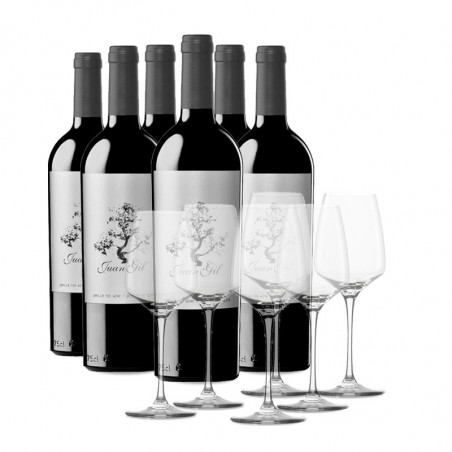Box 6 bottles Juan Gil Silver Label 12 meses + 6 glasses
