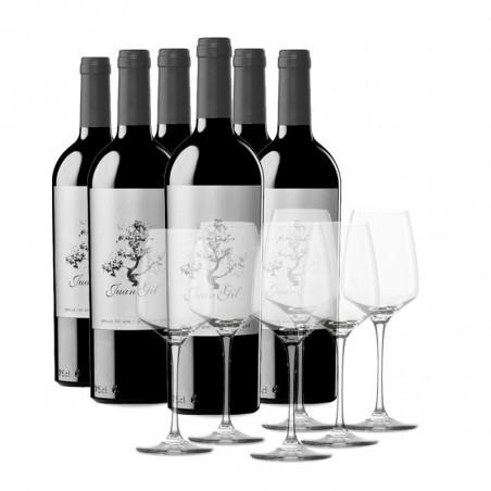 Etui 6 Flaschende Juan Gil Silver Label 12 meses + 6 Gläsern