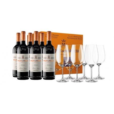6 bottles of Marqués de Murrieta Reserva + 6 Schott glasses