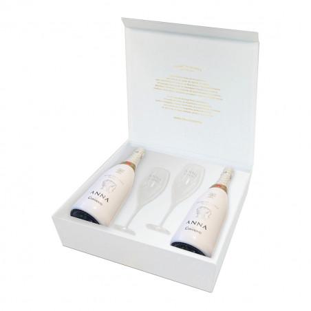Box 2 bottles Anna de Codorniu Blanc de Blancs + 2 glasses